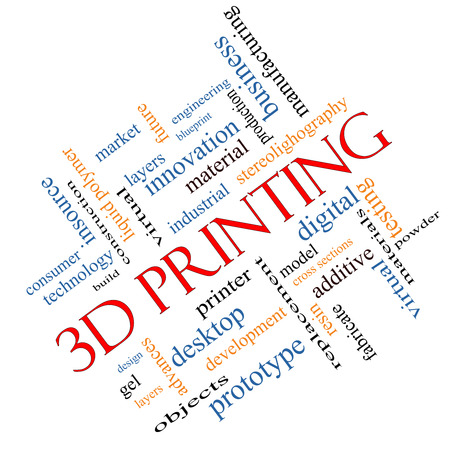 3D Printing Word Cloud Concept angled with great terms such as digital, layers, model and more. photo