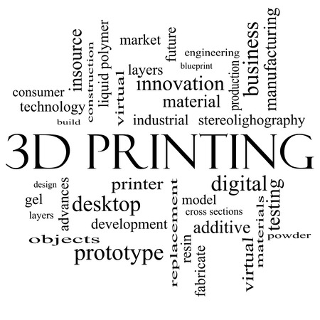 3D Printing Word Cloud Concept in black and white with great terms such as digital, layers, model and more. photo