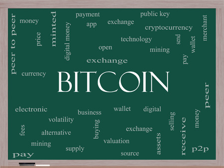 minted: Bitcoin Word Cloud Concept on a Blackboard with great terms such as digital, money, wallet and more. Stock Photo