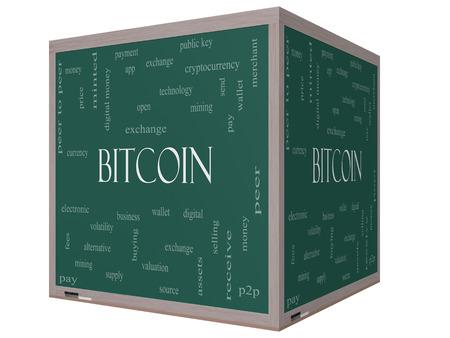 volatility: Bitcoin Palabra Nube Concepto en una pizarra cubo 3D con grandes t�rminos como digital, dinero, cartera y m�s.