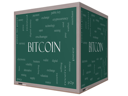 minted: Bitcoin Word Cloud Concept on a 3D cube Blackboard with great terms such as digital, money, wallet and more.