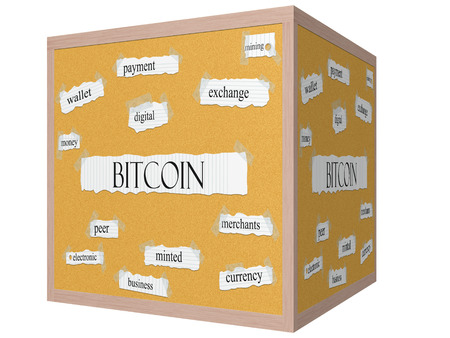 Bitcoin 3D cube Corkboard Word Concept with great terms such as payment, digital, mining, money and more.