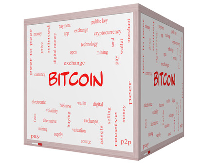 minted: Bitcoin Word Cloud Concept on a 3D cube Whiteboard with great terms such as digital, money, wallet and more.