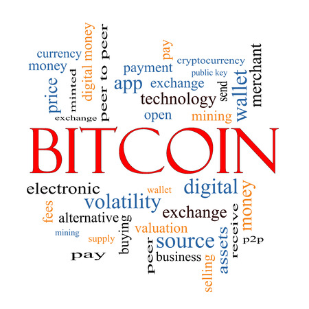 minted: Bitcoin Word Cloud Concept with great terms such as digital, money, wallet and more. Stock Photo