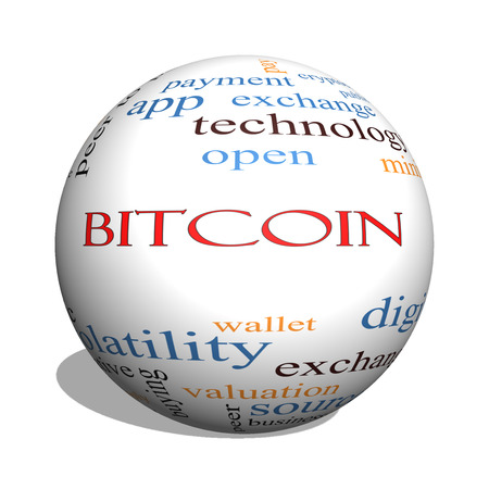 Bitcoin 3D sphere Word Cloud Concept with great terms such as digital, money, wallet and more. Stock Photo
