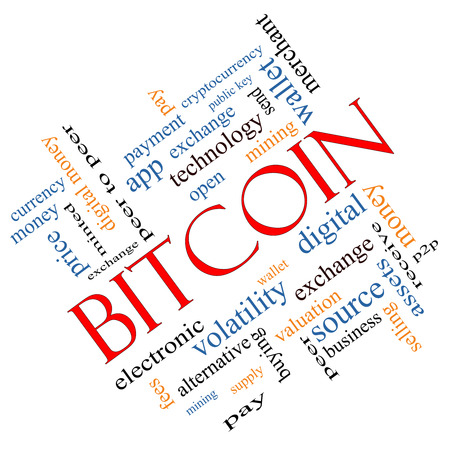 minted: Bitcoin Word Cloud Concept angled with great terms such as digital, money, wallet and more.