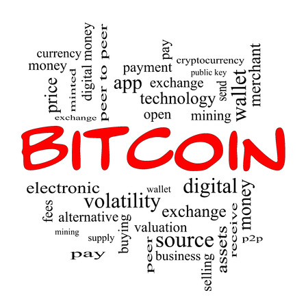 minted: Bitcoin Word Cloud Concept in red caps with great terms such as digital, money, wallet and more.