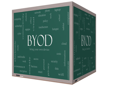 BYOD Word Cloud Concept on a 3D cube Blackboard with great terms such as bring, your, own, device and more. photo