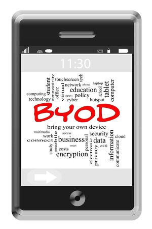 BYOD Word Cloud Concept of Touchscreen Phone with great terms such as bring, your, own, device and more. photo