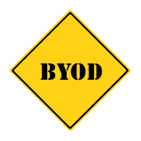 A yellow and black diamond shaped road sign with the word BYOD making a great concept. Фото со стока