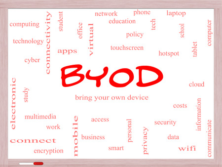 BYOD Word Cloud Concept on a Whiteboard with great terms such as bring, your, own, device and more. photo