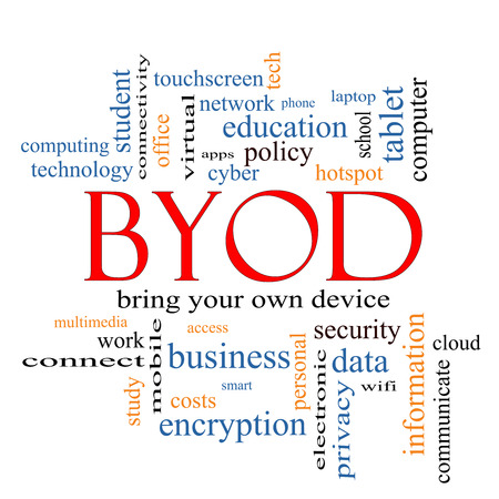 BYOD Word Cloud Concept with great terms such as bring, your, own, device and more. photo