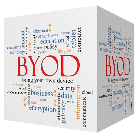 apporter: BYOD 3D cube Word Cloud Concept avec des termes tels que apportez, votre, propre, dispositif et plus.