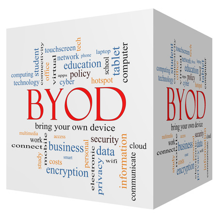 BYOD 3D cube Word Cloud Concept with great terms such as bring, your, own, device and more. photo