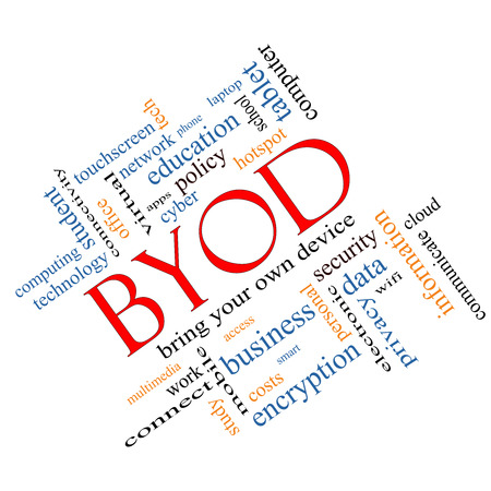 BYOD Word Cloud Concept angled with great terms such as bring, your, own, device and more. photo