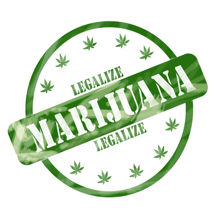 legalize: A green ink weathered roughed up circle and stars stamp design with the words LEGALIZE MARIJUANA on it making a great concept. Stock Photo