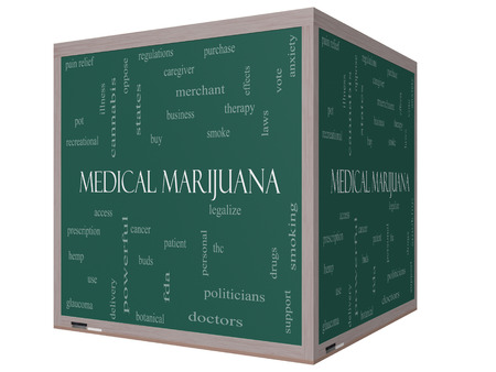 이러한 치료로 좋은 조건의 3D 큐브 칠판에 의료 마리화나 단어 구름 개념, 환자 등을 합법화.
