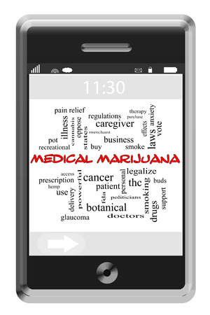 Medical Marijuana Word Cloud Concept of Touchscreen Phone with great terms such as treatment, illness, smoke and more. photo