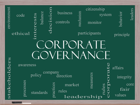 corporate governance: Corporate Governance Word Cloud Concept on a Blackboard with great terms such as code, company, rules and more.