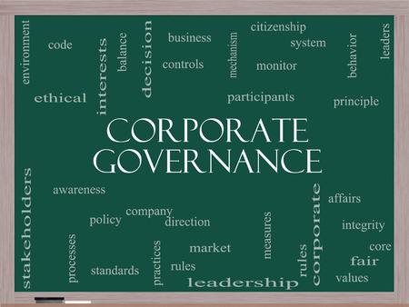 gobierno corporativo: Gobierno Corporativo Palabra Nube Concepto en una pizarra con los t�rminos de la talla de c�digo, compa��a, reglas y m�s.