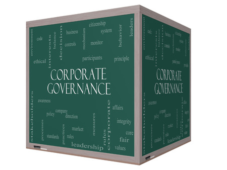 corporate governance: Corporate Governance Word Cloud Concept on a 3D cube Blackboard with great terms such as code, company, rules and more. Stock Photo