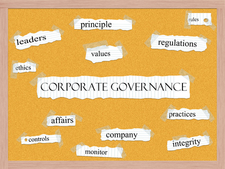 corporate governance: Corporate Governance Corkboard Word Concept with great terms such as leaders, ethics, values and more.