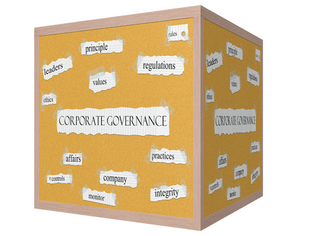 Corporate Governance 3D cube Corkboard Word Concept with great terms such as leaders, ethics, values and more.