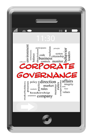 Corporate Governance Word Cloud Concept of Touchscreen Phone with great terms such as ethics, controls, rules and more. photo
