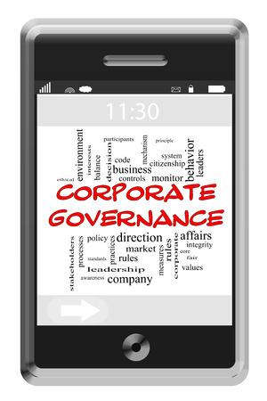 gobierno corporativo: Gobierno Corporativo Palabra Nube Concepto de tel�fono con pantalla t�ctil con los t�rminos de la �tica, controles, reglas y m�s.