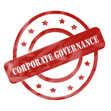 corporate governance: A red ink weathered roughed up circles and stars stamp design with the words CORPORATE GOVERNANCE on it making a great concept. Stock Photo