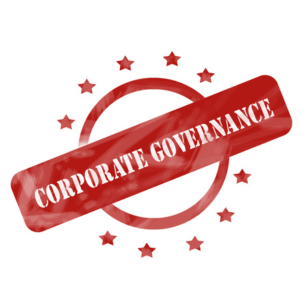 corporate governance: A red ink weathered roughed up circle and stars stamp design with the words CORPORATE GOVERNANCE on it making a great concept.