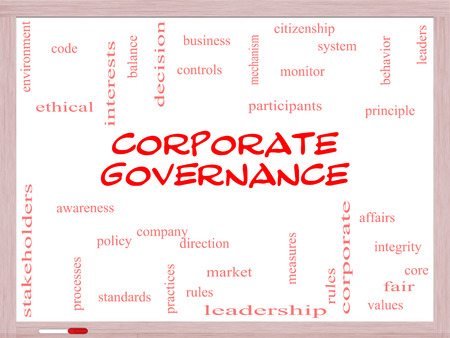 gobierno corporativo: Gobierno Corporativo Palabra Nube Concepto en una pizarra con t�rminos de la talla de c�digo, compa��a, reglas y m�s. Foto de archivo