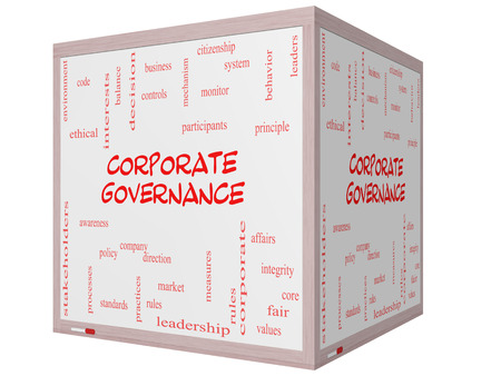 corporate governance: Corporate Governance Word Cloud Concept on a 3D cube Whiteboard with great terms such as code, company, rules and more.