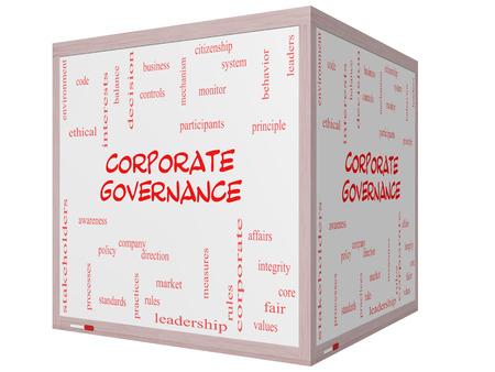 gobierno corporativo: Gobierno Corporativo Palabra Nube Concepto en una pizarra cubo 3D con grandes t�rminos como c�digo, compa��a, reglas y m�s. Foto de archivo