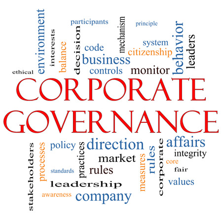 Corporate Governance Word Cloud Concept with great terms such as code, company, rules and more. photo
