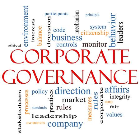 gobierno corporativo: Gobierno Corporativo Palabra Nube Concepto con los t�rminos tales como c�digo, compa��a, reglas y m�s.