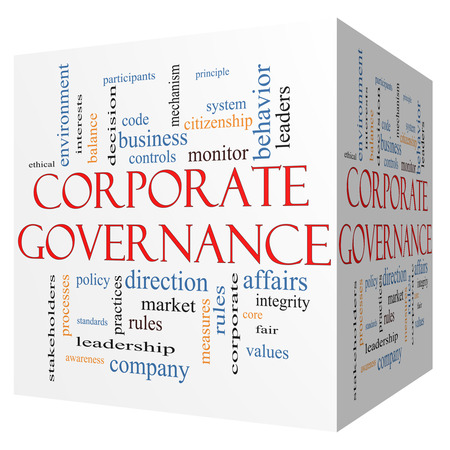 governance: Corporate Governance 3D cube Word Cloud Concept with great terms such as code, company, rules and more.