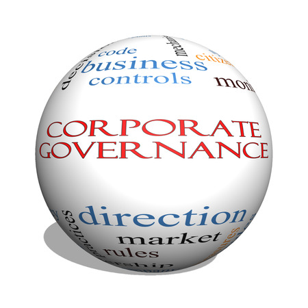 stakeholders: Corporate Governance 3D sphere Word Cloud Concept with great terms such as code, company, rules and more.