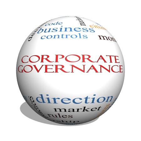 gobierno corporativo: Gobierno Corporativo 3D esfera Palabra Nube Concepto con los t�rminos tales como c�digo, compa��a, reglas y m�s.