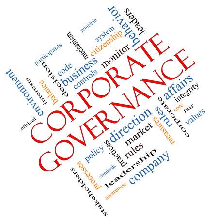 gobierno corporativo: Gobierno Corporativo Palabra Nube Concepto en �ngulo con t�rminos de la talla de c�digo, compa��a, reglas y m�s.