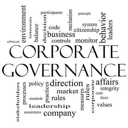 gobierno corporativo: Gobierno Corporativo Palabra Nube Concepto en grandes t�rminos de blanco y negro con como c�digo, compa��a, reglas y m�s.