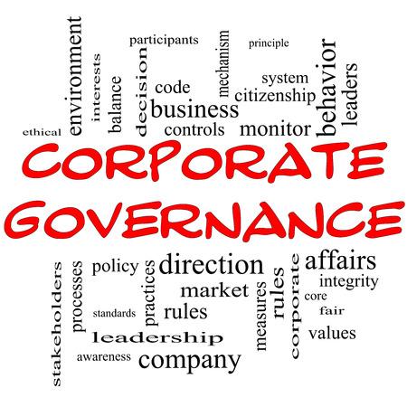 governance: Corporate Governance Word Cloud Concept in het rood kappen met grote termen als code, bedrijf, regels en meer. Stockfoto