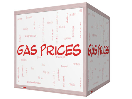 Gas Prices Word Cloud Concept on a 3D cube Whiteboard with great terms such as automobile, pump, costly, gallon, price and more. photo