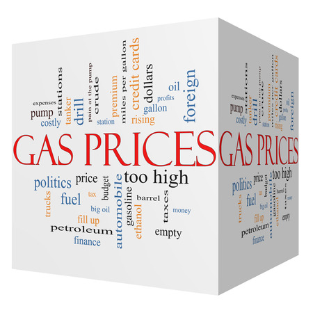 Gas Prices 3D cube Word Cloud Concept with great terms such as automobile, pump, costly, gallon, price and more. photo