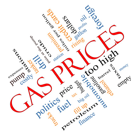 Gas Prices Word Cloud Concept angled with great terms such as automobile, pump, costly, gallon, price and more.