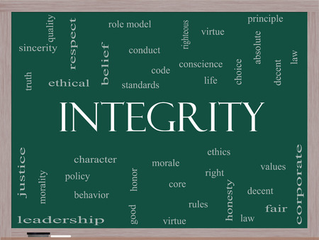 Integrity Word Cloud Concept on a Blackboard with great terms such as virtue, code, conduct and more. photo