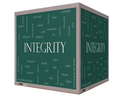 role model: Integrity Word Cloud Concept on a 3D cube Blackboard with great terms such as virtue, code, conduct and more.
