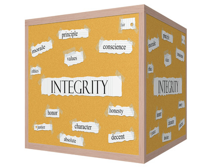 morale: Integrity 3D cube Corkboard Word Concept with great terms such as morale, ethics, values and more.