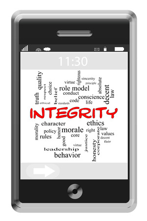 Integrity Word Cloud Concept of Touchscreen Phone with great terms such as values, honesty, truth and more. photo
