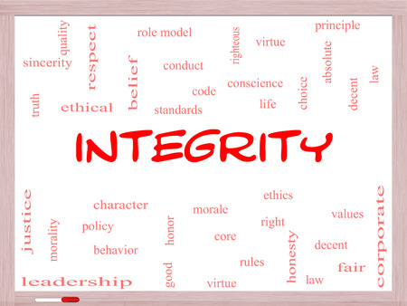 Integrity Word Cloud Concept on a Whiteboard with great terms such as virtue, code, conduct and more.